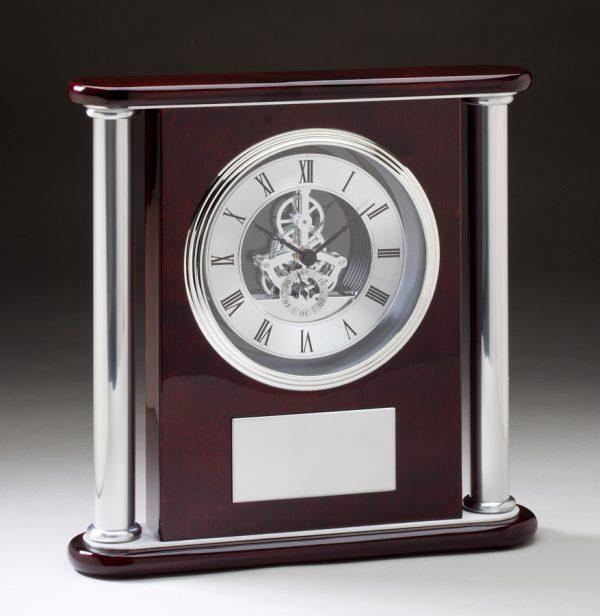 Rosewood Column Skeleton Clock-0