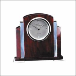 Rosewood Clock with Silver Accents-0
